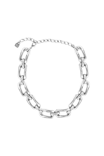 UNO DE 50 OPEN OVAL LINKS SILVER PLATED NECKLACE COL1297