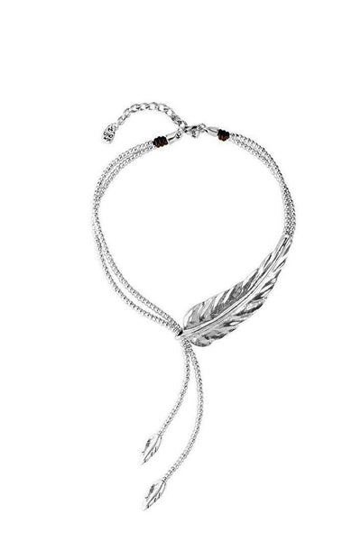 UNO DE 50 SHORT BALL CHAIN FEATHER NECKLACE COL1306 - Lizardfashion