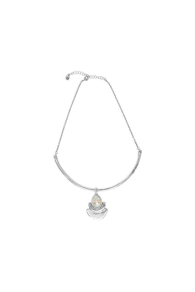 UNO DE 50 SILVER PLATED TEARDROP CRYSTAL NECKLACE COL1469