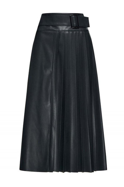 BEATRICE B FOREST GREEN MOCK LEATHER PLEATED BELTED MIDI SKIRT 20FA5473790