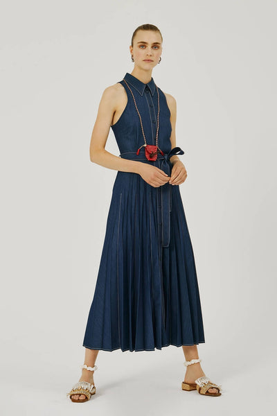 BEATRICE B DENIM-LOOK PLEATED DRESS 21FE64562481-590