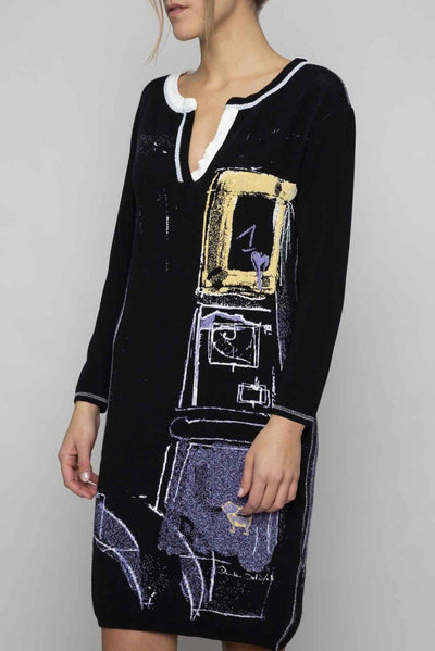 ELISA CAVALETTI LONG JUMPER SWEATER PRINTED V NECK DRESS 202023503