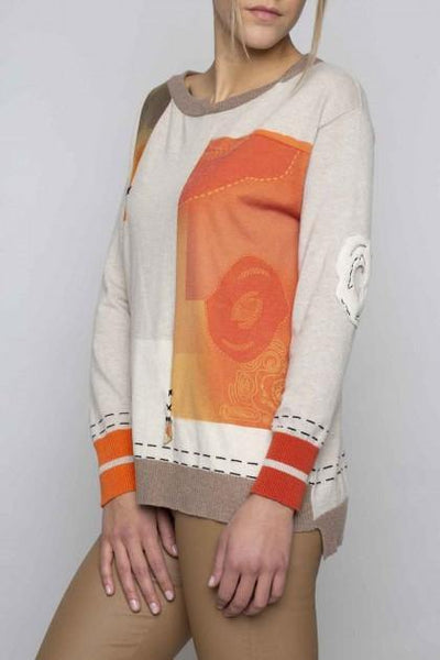 ELISA CAVALETTI FINE KNIT ORANGE TAPE PRINTED SWEATER 204004601