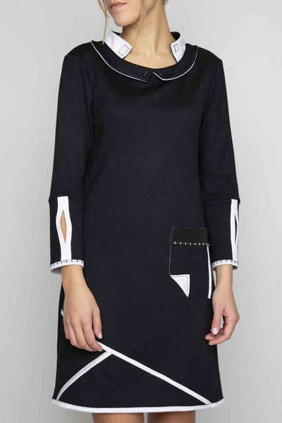 ELISA CAVALETTI SHIFT JERSEY LAYERED COLLAR POCKET DRESS 202001905