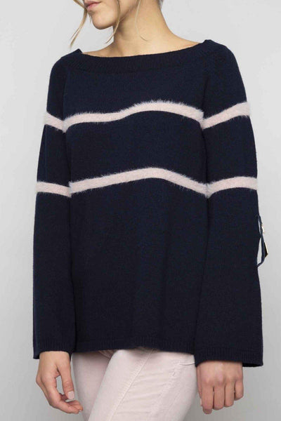 ELISA CAVALETTI FINE KNIT LINE DETAIL BOAT NECK SWEATER 204044202