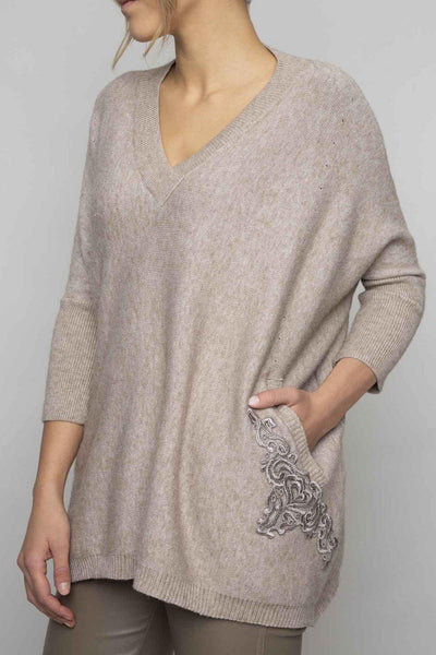 ELISA CAVALETTI V NECK SOFT KNIT SIDE POCKETS SWEATER 204066708
