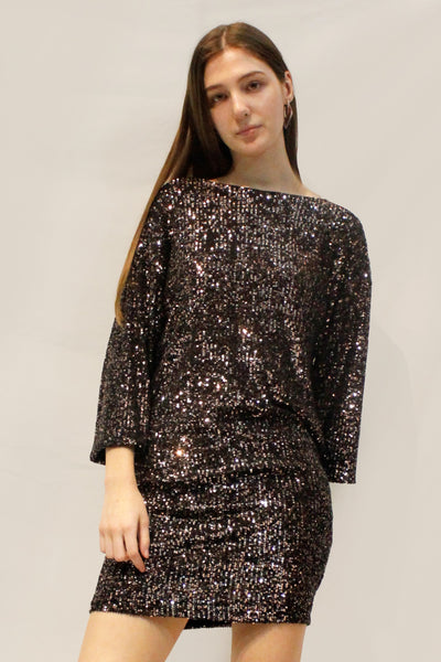 DIXIE SEQUIN LONG SLEEVE DRESS AERBMDO