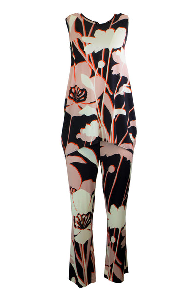 1 ONE COLLECTION PINK PRINTED WIDE FULL LENGTH TROUSERS Z0091-0123