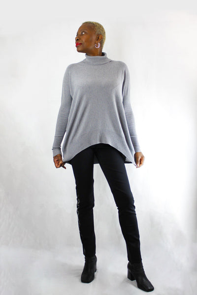 BEATE HEYMANN WIDE FIT ASYMMETRICAL ROLL NECK GREY SWEATER 1067-38