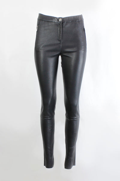 OAKWOOD STRETCHED LEATHER FITTED TROUSERS 63782
