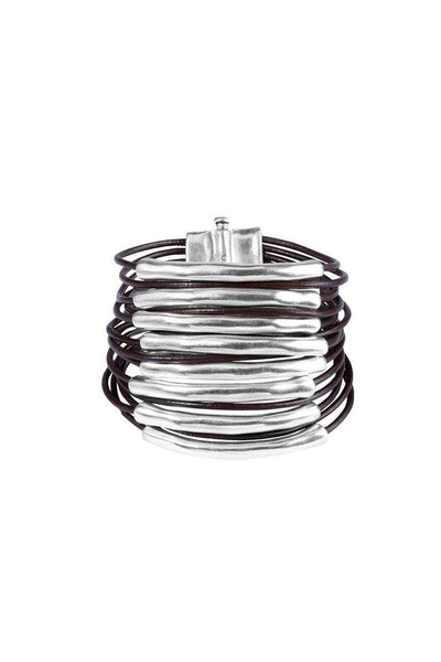 UNO DE 50 MULTI STRAND LEATHER SILVER CENTRE CUFF PUL1502