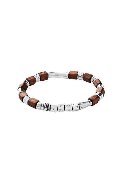 UNO DE 50 ELASTICATED WOOD SILVER CUBE MENS BRACELET PUL1635