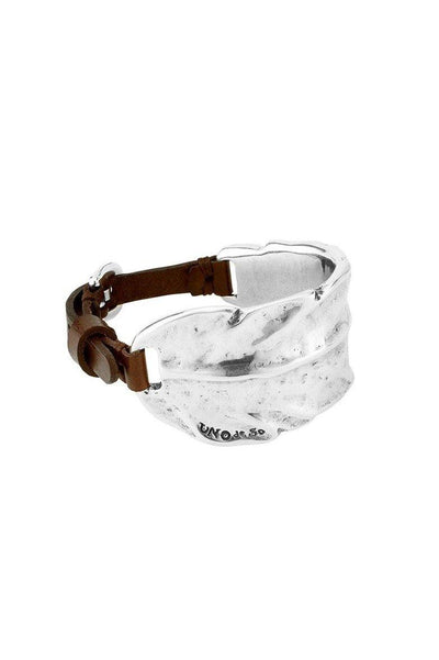 UNO DE 50 HALF FEATHER LEATHER STRAP BRACELET PUL1776