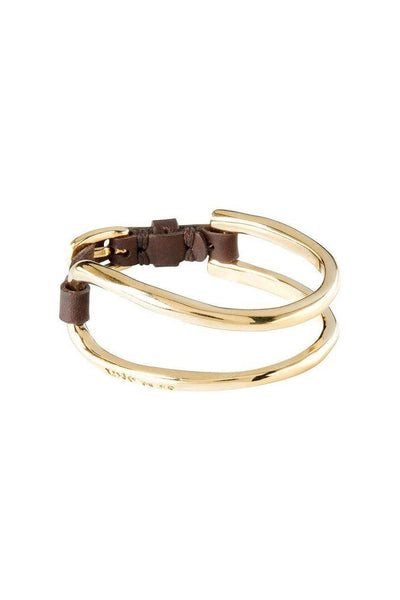 UNO DE 50 DOUBLE BANGLE JOINED BROWN STRAP PUL1901