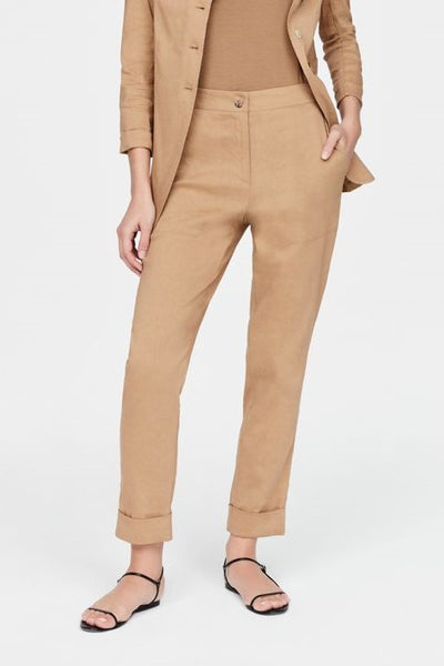 SARAH PACINI FLAT FRONT TAPERED TURN UP SQUARE POCKET TROUSERS 2111304135
