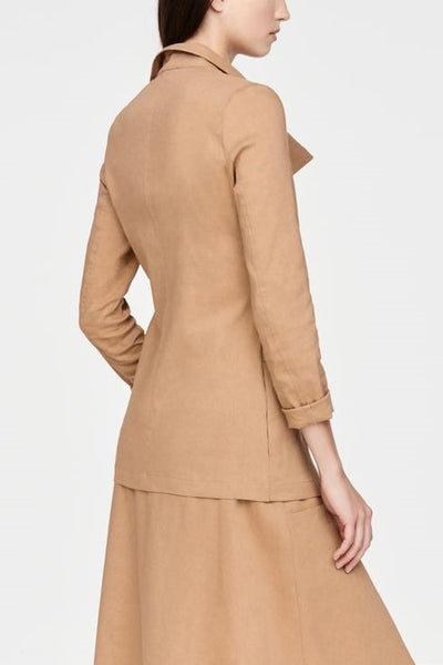 SARAH PACINI TAN ASYMMETRIC BUTTON SINGLE POCKET JACKET 2111303735