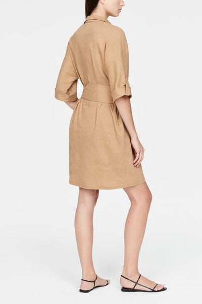 SARAH PACINI ASYMMETRIC BUTTON THREE QUARTER SLEEVE DRESS 2111303835