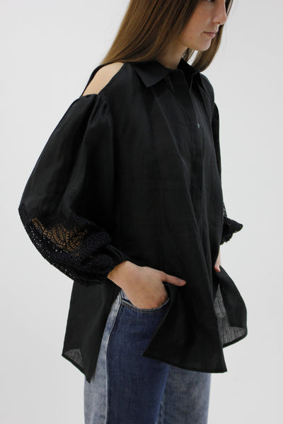 BEATRICE B HEMP SHIRT WITH LACE SLEEVES 21FE474960792-1