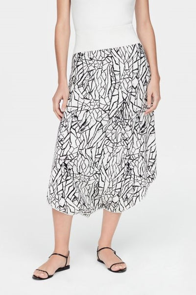 SARAH PACINI LONG KNIT BLACK CRINKLE PRINT BREATHABLE SKIRT 2111102903