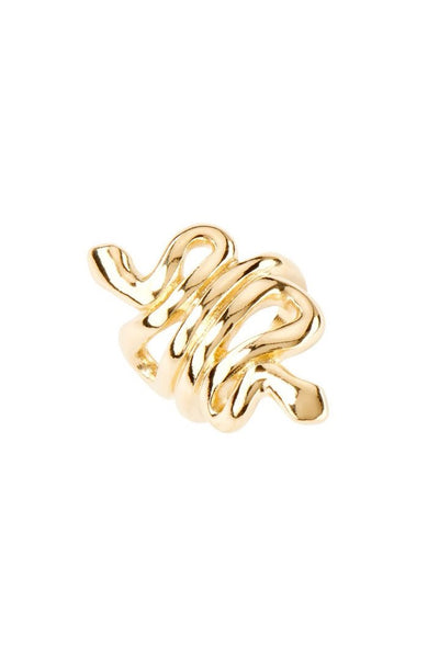 UNO DE 50 GOLD PLATED SNAKE WRAPPED RING ANI0643OROMTL