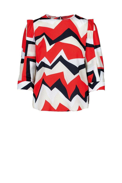 ANONYME TOP GEOMETRIC ZIG ZAG PRINT U229ST046 - Lizardfashion