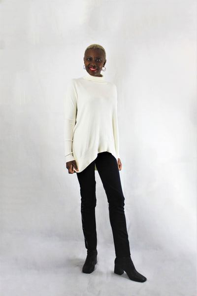 BEATE HEYMANN WIDE FIT ASYMMETRICAL ROLL NECK CREAM SWEATER 1067-23