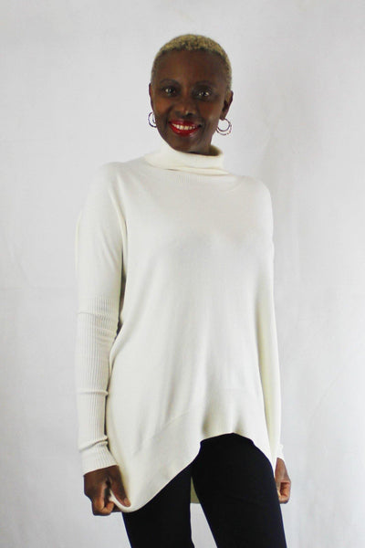 BEATE HEYMANN WIDE FIT ASYMMETRICAL ROLL NECK CREAM SWEATER 1067-23 - Lizardfashion