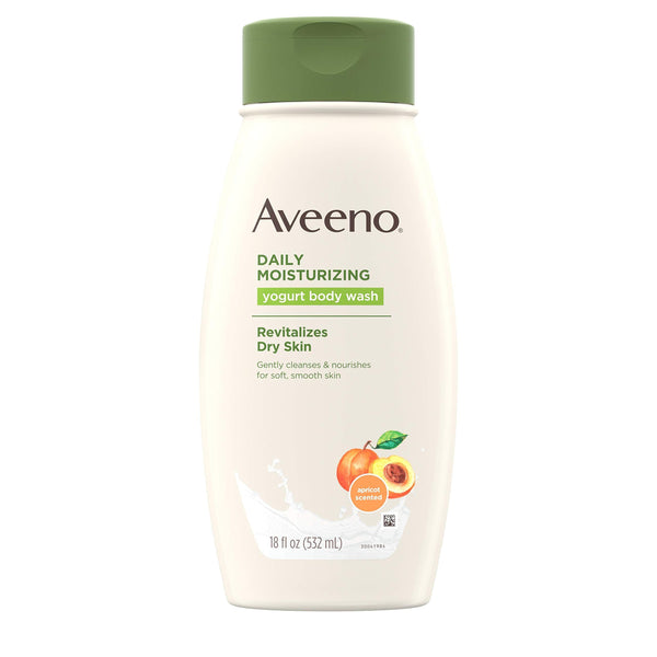 2 Pack - Aveeno Moisturizing Body Yogurt Body Wash Apricot and Honey 18oz