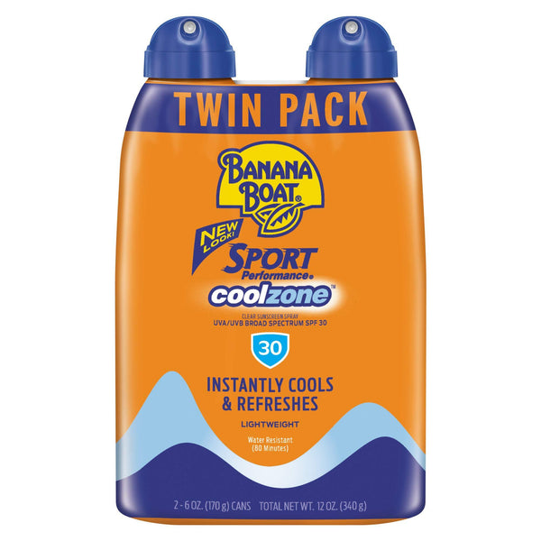 2 Pack - Banana Boat Sport Coolzone Sunscreen Spray SPF 30 6 OZ Twin Pack