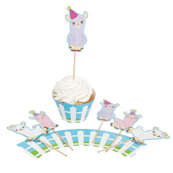Fun Express - Lil' Llama Cupcake Collar With Pick 100 Pieces