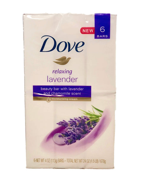 Dove Relaxing Lavender Beauty Bar with Lavender and Chamomile Scent 4 Ounce 6 Bar