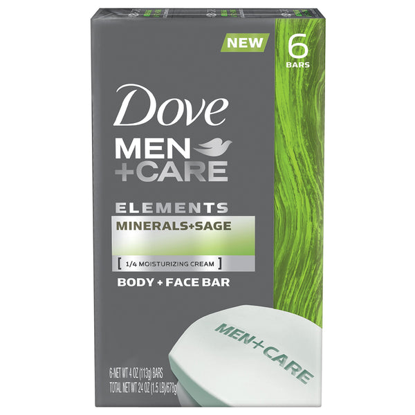 2 Pack - Dove Men+care Elements Bar, Minerals and Sage, 6 Count, 24 Ounce