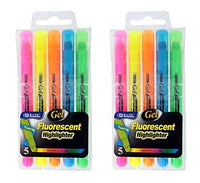 5 Gel Highlighters, Assorted Fluorescent Colors