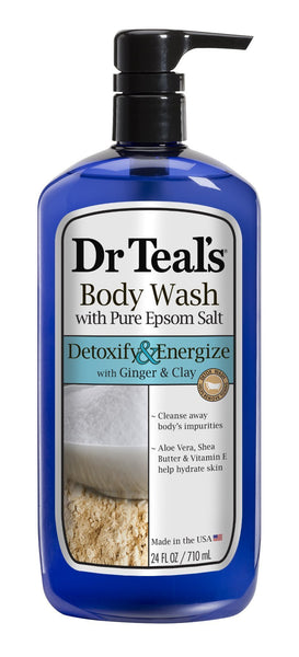 Dr. Teal's Pure Epsom Salt Body Wash, Detox, 24 Fluid Ounce