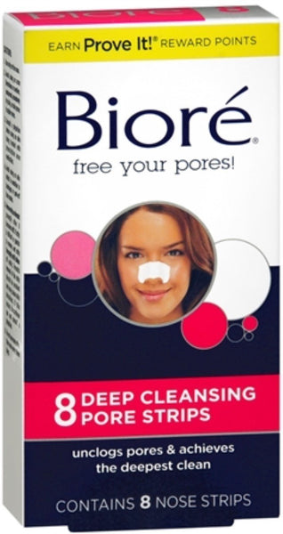 2 Pack - Biore Pore Nose Strips Size 8ct Biore Deep Cleaning Pore Strips