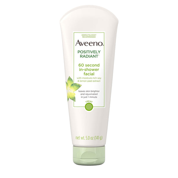 2 Pack - Aveeno Positively Radiant 60-Second Conditioner In Shower Facial 5 Oz
