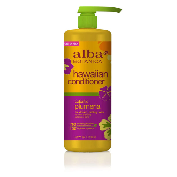 3 Pack - Alba Botanica Colorific Plumeria Hawaiian Conditioner, 32 oz.