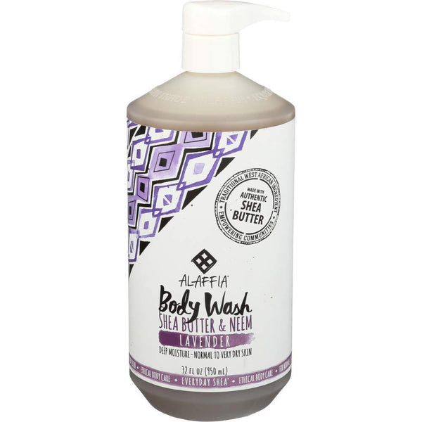 Alaffia - Everyday Shea Body Wash Lavender, 32 Ounces