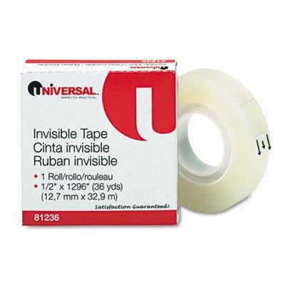"Universal Invisible Tape, 1/2"" x 1296"", 1"" Core, Clear"