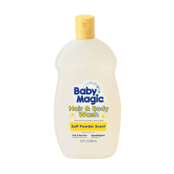 2 Pack - Baby Magic Hair And Body Wash 16.5 Ounce Soft Powder Scent (488ml)