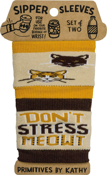 To-Go Coffee Cup Sipper Sleeves Don't Stress Meowt Cat Design 2ct