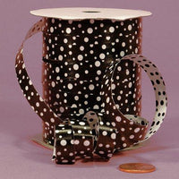 "Black Polka Dots Curling Ribbon, 3/8"" X 250Yd"