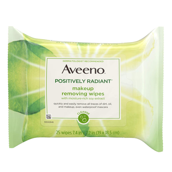 2 Pack - Aveeno Positively Radiant Oil-Free Makeup Removing Wipes, 25 ct.