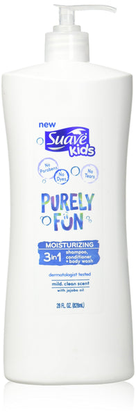 Suave Kids 3 In 1 Shampoo + Conditioner+ Body Wash Purely Fun, 28oz