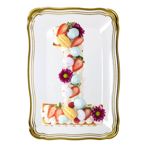 Aristocrat Collection Rectangle Serving Trays White & Gold