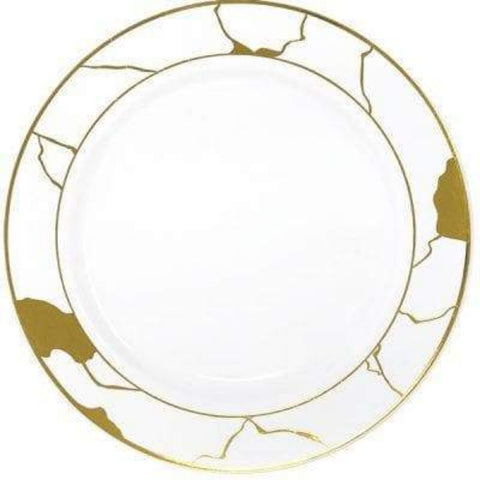 "Marble Collections Dinner Plate White & Gold 10.25"" 10Ct"
