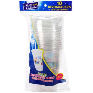 10 Count Cups with Lids & Straws 24 oz