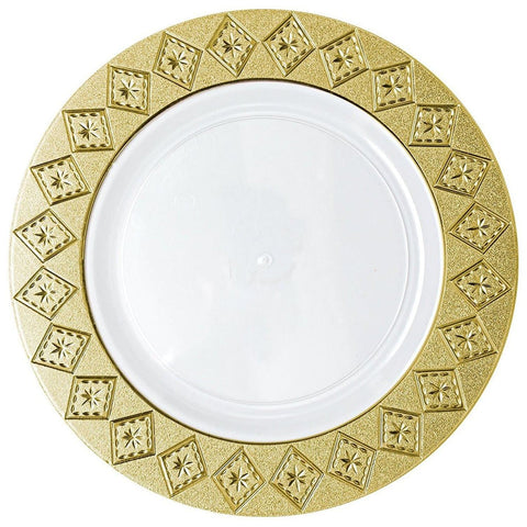 "Imperial Crushed Plastic Dinner Plates 10"" White Gold 10Ct"