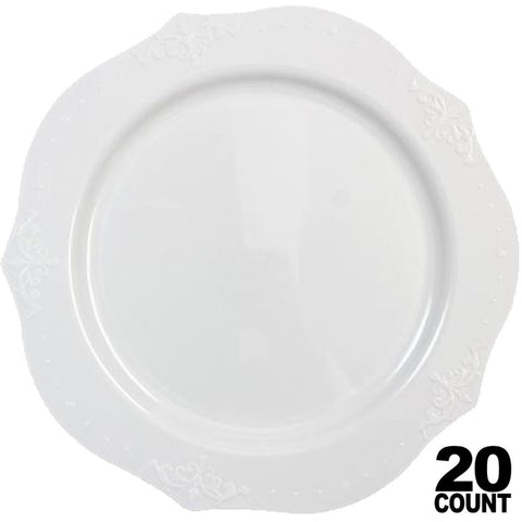 "Antique Collection Dinner Plates White 10"" 20Ct - OnlyOneStopShop"