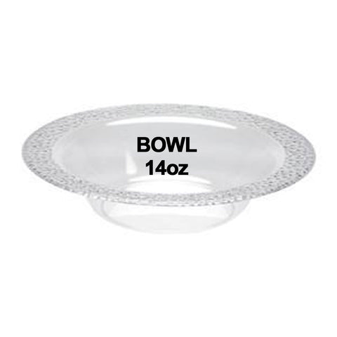 Lillian Tablesettings Pebbled Plastic Bowl Clear 14 oz 10Ct